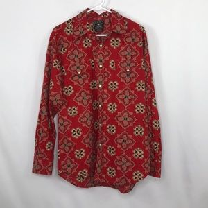 Lucky Brand Mens Red Pattern Western Style Shirt